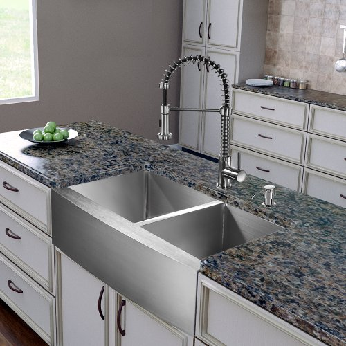 VIGO 36 Inch Farmhouse Apron 60/40 Double Bowl 16 Gauge Stainless Steel  Kitchen Sink With Edison Stainless Steel Faucet, Two Grids, Two Strainers  And Soap ...